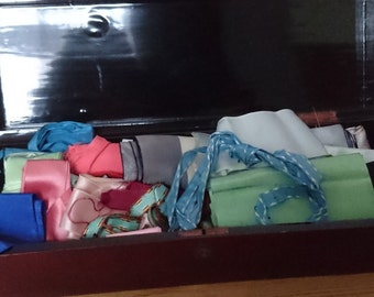 Vintage Japanese box containing a vintage ribbon collection