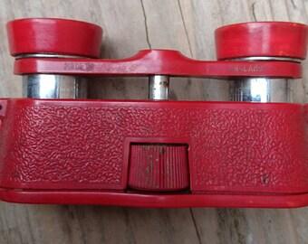 Vintage red Kershaw binoculars /opera glasses