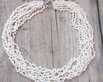 Beautiful eight strand rice Pearl necklace