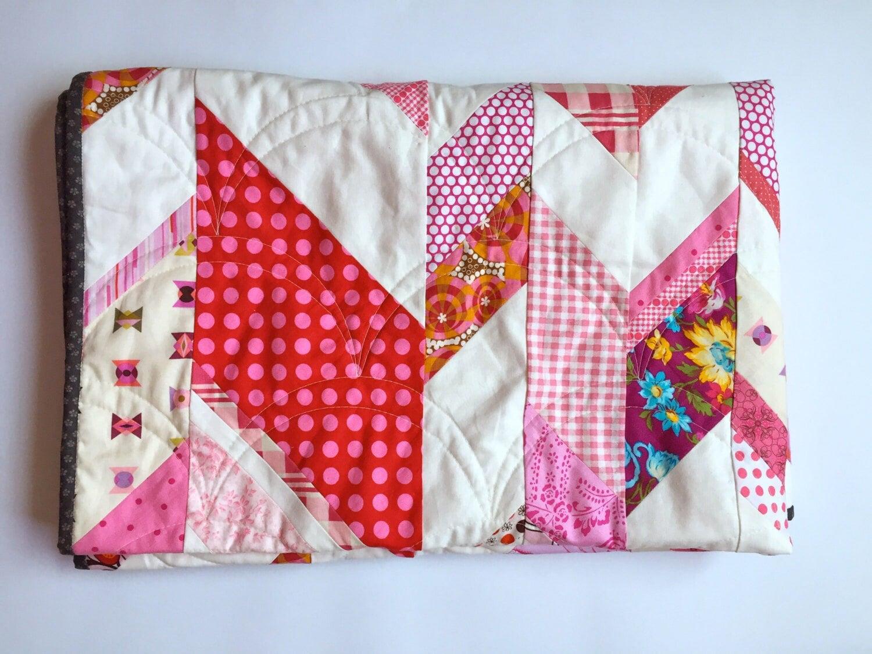 Pink Uneven Chevron Quilt Modern Handmade Lap Quilt by ...