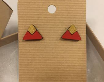 Red and gold triangle wooden earrings