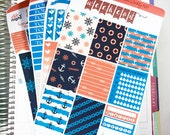 Rough Seas Premium Weekly Kit Stickers / Red and Navy Nautical Weekly for Erin Condren / Weekly Functional Kits / Washi, Full Box