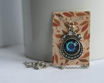 Supernatural Protection Symbol Glass Cabochon Ornate Bezel Necklace