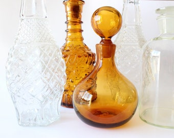 Vintage Amber Decanter Liquor Bottle w/ Lid Mid Century Barware Boho Hollywood Regency