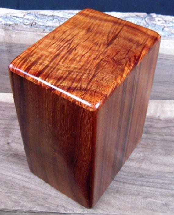 "Large Curly Hawaiian Koa Memorial Cremation Urn... 7""wide x 5""deep x 9""high LK042617-2 Wooden Urn"