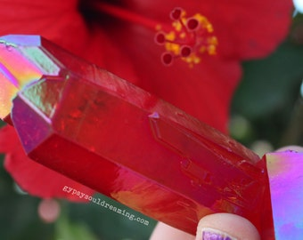 Large Red Flame Aura Quartz Crystal Point
