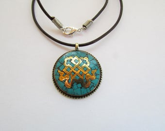 Turquoise Mandala Necklace - Real Turquoise Inlay with Brass Pendant from Nepal on 18.25 Inch Black Leather - Turquoise Stone Tribal Pendant