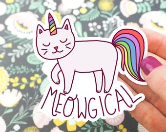 Magical Vinyl Sticker, Meowgical, Cat Unicorn Decal, Rainbow, Laptop Sticker, Tablet Decal, Yeti Sticker, Cute Gift For Her, Binder Stickers