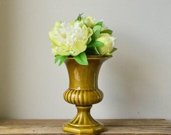 Vintage Traditional Olive Green Pedestal Vase