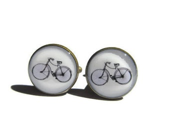 BICYCLE CUFFLINKS - Cyclist cufflinks - bicycle jewelry - Bike cufflinks - Bike Jewellery - Cyclist Gift - Sports cufflink - retro bike