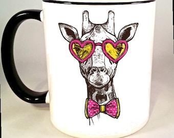 Hipster Giraffe Coffee Mug, Giraffe Coffee Cup, Cool Giraffe Mug, Animal Wearing Glasses, Sublimated 11 oz, Colored Handle & Rim, 4 Colors