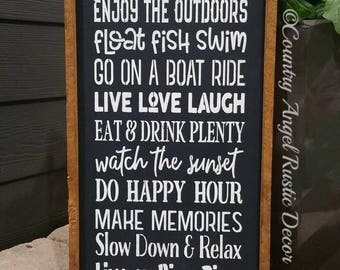 "River Sign. At the RIVER we do...Rustic distressed Typography/Subway wood sign 12""x24"", Outdoor Sign, Lake Sign, Cabin, Cottage, River rules"