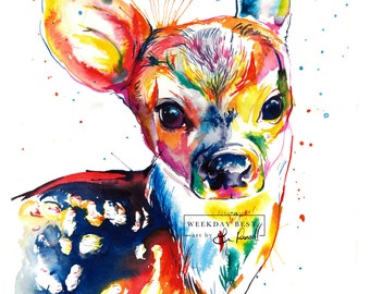 Baby Deer -Colorful print of original watercolor painting - bright nursery decor