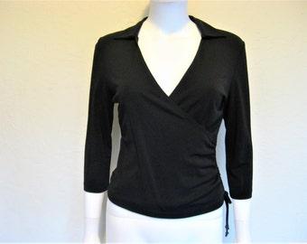90s Black Wrap Shirt / 90s minimalist