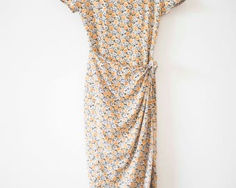 1990's Daisy Print Dress    Vintage Wrap Dress    Festival Wear
