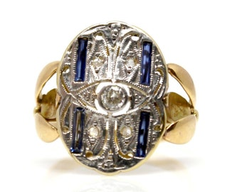 Diamond sapphire rind Edwardian 1910-15s