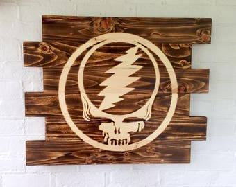 Grateful Dead Steal Your Face Rustic Burned Wood Sign