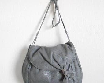 30% SALE - 80s vintage bag - grey leather bag purse - 80s Gone Astray bag