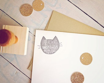 Cat Return Address Stamp - Custom Rubber Stamp - Wood Mounted Stamp