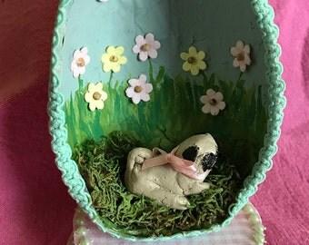 Handmade PUG Springtime Easter Egg , Diorama Egg decoration