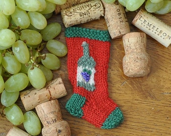 Wine Bottle Hand-Knit Christmas Stocking Ornament