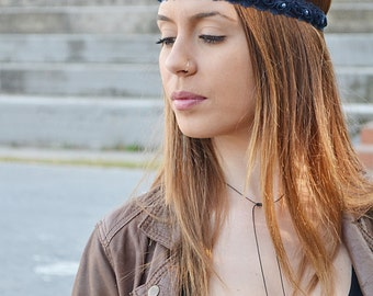Navy blue headband, boho headband, lace  bohemian headband, women headband, vintage headband, lace headwrap,  baby head wraps, girl birthday