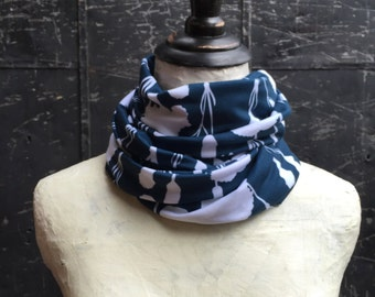 Blue and White Cotton Jersey Knit Infinity Scarf - Floral Pattern - White Carnations