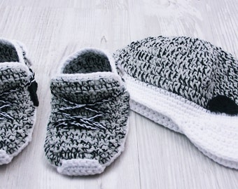 Grey Crochet Baby Shoes Crochet Baby Booties Athletic Shoes Newborn Yeezy Boost Baby Street Shoes Baby Sneakers Booties Baby BB104C19