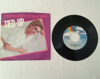 Olivia Newton John Tied Up & Silvery Rain Vintage Vinyl 45 rpm Record with Picture Sleeve 1982 MCA Records MCA 52155