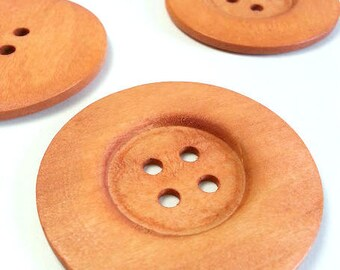 Lot of 5 big round wooden buttons, decorative button with 4 holes, natural wood button, natural creative material, scrapbooking button.