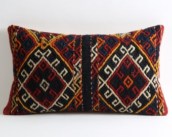 Vintage Kilim Pillow Cover 12x20 Bohemian Home Decor Kilim Cushion Cover Shabby Chic Pillowcase Decorative Couch Pillows Old Kilim Pillow