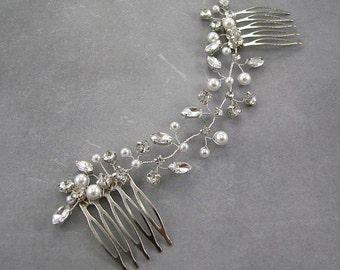 Wedding hair accessories, Wedding pearl comb, bridal headpiece, hair vine, Bridal hair accessories. Pearl headpiece. Wedding hair comb.