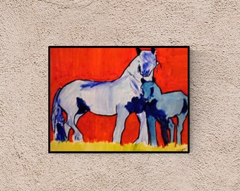Horse portrait: Blue Pintos - custom horse portrait - horse illustration - horse drawing - horse painting