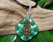 Aventurine Orgone Pendant - Hamsa/Hand of Fatima - Handmade Healing Jewelry - Spiritual Gift, Chi, Prana, Energy Balancing - Small