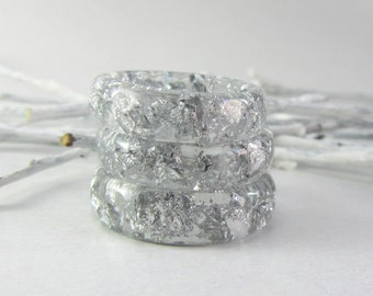 Clear Resin Rings Delicate rings Faceted Silver Flakes Resin Ring Statement Resin Ring Transparent Resin Rings Real Silver Flakes Clear Ring