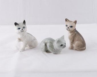 Set of 3 Vintage  Bone China Kittens
