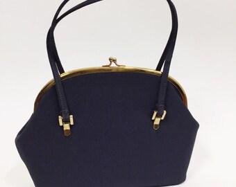 1940s Ingber Navy Blue Evening Bag / Navy Purse / 1940s Purse / Small Handbag / Delicate 40s Handbag /