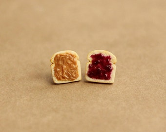 Miniature Peanut Butter and Jelly Earrings, Miniature Food Jewelry