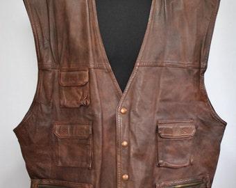 Vintage LEATHER VEST , brown leather vest with front pockets.....(025)
