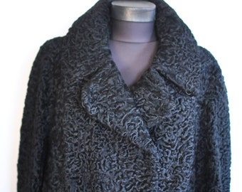 Vintage ASTRAKHAN FUR COAT full length fur coat , 1976 fur coat ..........(294)