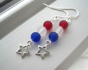 USA Earrings - USA Jewelry - Team USA jewelry - Winter Olympics - Star Earrings  - Star Jewelry - Long Earrings - Patriotic Jewelry
