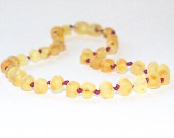 RAW Unpolished Baltic Amber Necklace, Bracelets & Anklets - Lemonade/Light-colored - TEAL/PLUM cord