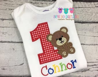 1st Birthday Bear Shirt - Teddy Bear Birthday Shirt - Baby Boy Bear Birthday Outfit - Birthday shirt - redn blue green yellow