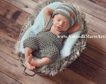 Baby Boy Hat and Diaper cover - Newborn Infant baby boy hat and diaper cover set, crochet knit baby boy clothes, cover, baby gift