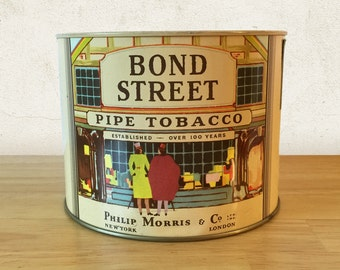 Vintage Bond Street Pipe Tobacco Canister Tin with Tax Stamp / General Store / Vintage Advertising / Farmhouse Rustic Country Decor