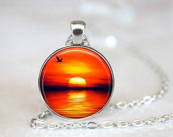 Orange Sunset Pendant Necklace Nature Jewelry Handcrafted Made to Order One Inch Pendant