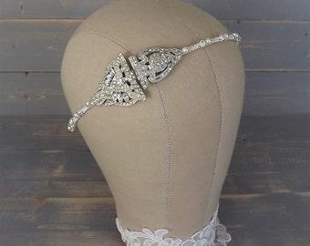 Art Deco Headpiece, Art Deco Headband, Bridal Headband, Vintage 1920's Headband, Art Deco Wedding, Wedding Headpiece, Rhinestone Headband