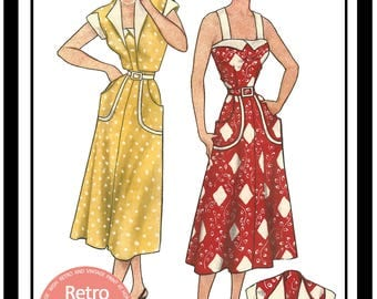 1950s Sun Dress and Bolero Sewing Pattern - Rockabilly - Pin Up - PDF Sewing Pattern - Instant Download