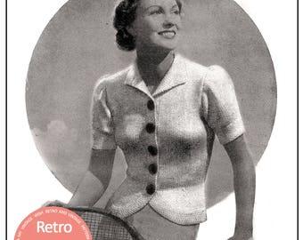 1930's Jumper Jacket- Vintage Knitting Pattern - PDF Instant Download