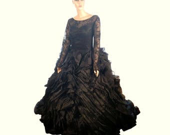 Black Wedding Dress, gothic wedding dress, rosetta wedding gown with lace illusion top and long sleeves